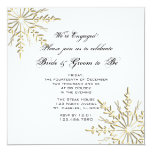 "Gold Snowflake Engagement Party Invitation 5.25"" Square Invitation Card"
