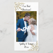 Gold Snowflake First Christmas Together Photo Card