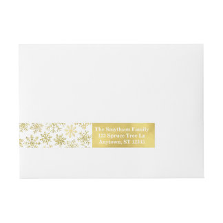 Gold Snowflake Glitter and Foil Address Labels