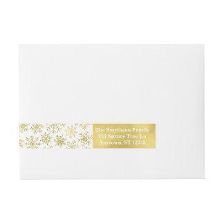 Gold Snowflake Glitter and Foil Address Labels Wraparound Address Label