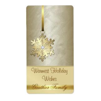 Gold Snowflake Gold Foil Diamond Wine Label