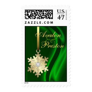 Gold Snowflake Green Silk Diamond Wedding Postage