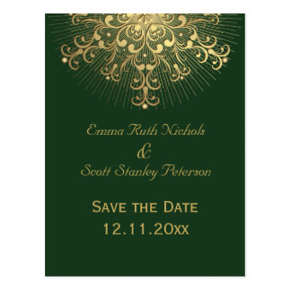 Gold snowflake green winter wedding Save the Date Postcard
