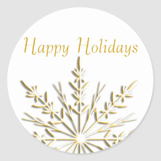 Gold Snowflake Happy Holidays Envelope Seals