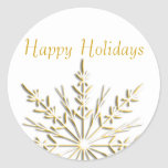 Gold Snowflake Happy Holidays Envelope Seals Round Stickers