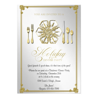 Gold Snowflake Holiday Dinner Party Custom Announcement