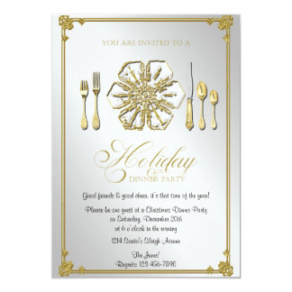 """Gold Snowflake Holiday Dinner Party 5"""" X 7"""" Invitation Card"""