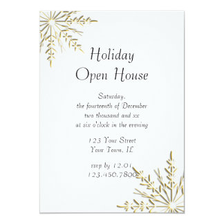 Gold Snowflake Holiday Open House Invite