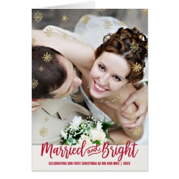 Beach Themed Gold Snowflake Married and Bright Christmas Photo Card