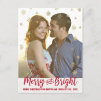 Gold Snowflake Merry and Bright Christmas Photo Holiday Postcard