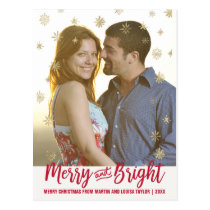 Gold Snowflake Merry and Bright Christmas Photo Postcard
