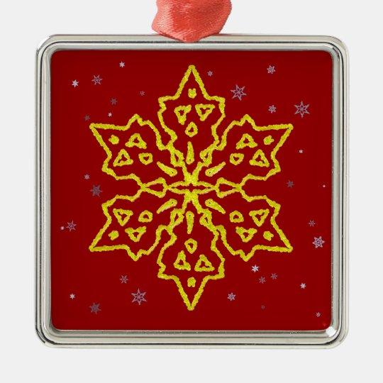 Gold Snowflake Metal Ornament
