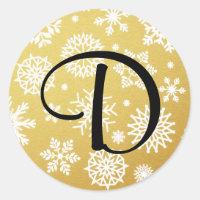 Gold Snowflake Monogram Christmas Gift Sticker
