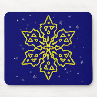 Gold Snowflake Mouse Pad