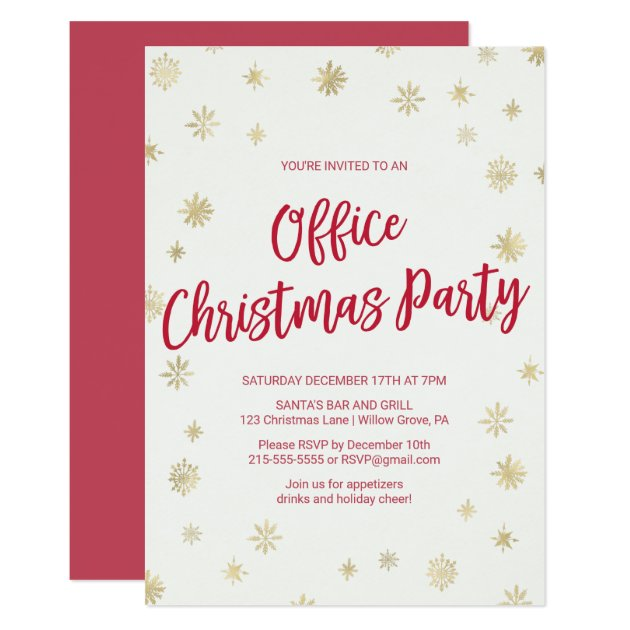 Office Christmas Party Invitation.Gold Snowflake Office Christmas Party Invitation