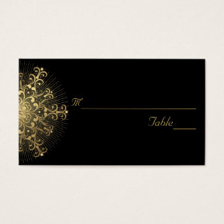 Gold snowflake on black winter wedding place card