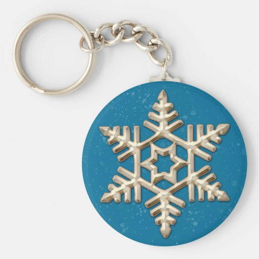 Gold Snowflake on Blue Holiday Keychain