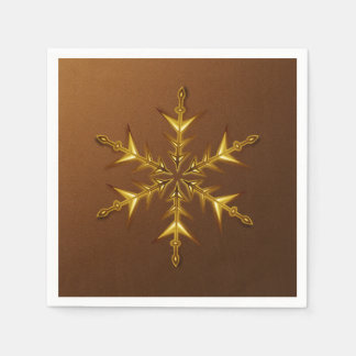 Gold Snowflake on Brushed Bronze Paper Napkins