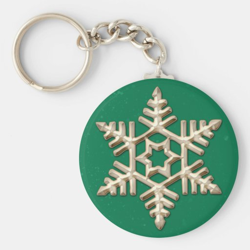 Gold Snowflake on Green Holiday Keychain