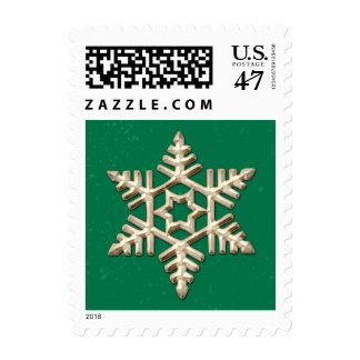 Gold Snowflake on Green Holiday Postage
