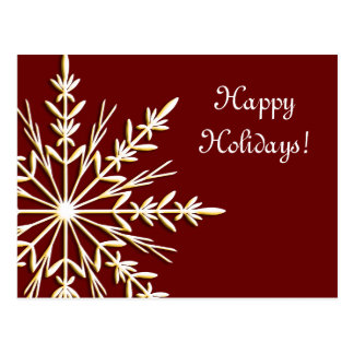 Gold Snowflake on Red Business Happy Holidays Postcard