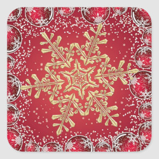 Gold snowflake on red Christmas Sticker