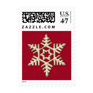 Gold Snowflake on Red Holiday Postage