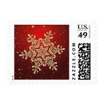 Gold snowflake on red Postage