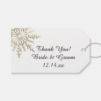 Gold Snowflake on White Winter Wedding Favor Tags