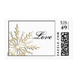 Gold Snowflake on White Winter Wedding Love Postage