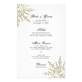 Gold Snowflake on White Winter Wedding Menu