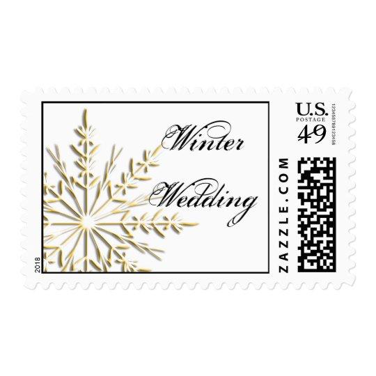 Gold Snowflake on White Winter Wedding Postage
