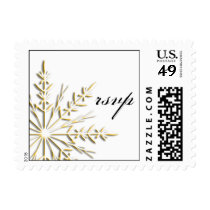 Gold Snowflake on White Winter Wedding RSVP Postage