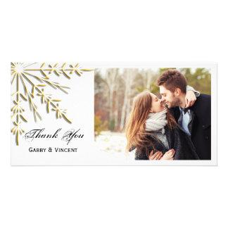 Gold Snowflake on White Winter Wedding Thank You Card
