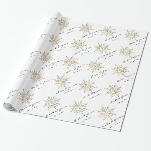 gold snowflake on white winter wedding wrapping paper zazzle