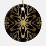 Gold Snowflake Double-Sided Ceramic Round Christmas Ornament