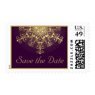 Gold snowflake purple winter wedding Save the Date Postage