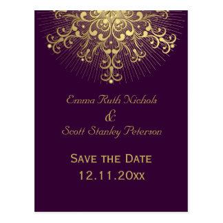 Gold snowflake purple winter wedding Save the Date Postcard