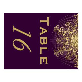 Gold snowflake, purple winter wedding table number postcard