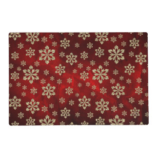 Gold Snowflake Red Placemat