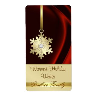 Gold Snowflake Red Silk Diamond Wine Label