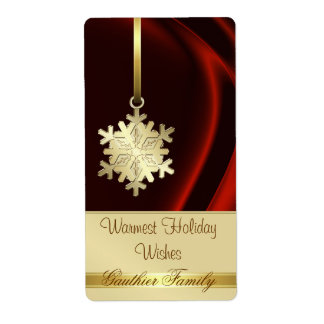 Gold Snowflake Red Silk Holiday Wine Label Shipping Label