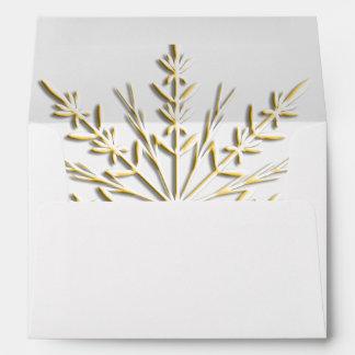 Gold Snowflake RSVP Response Card Envelope