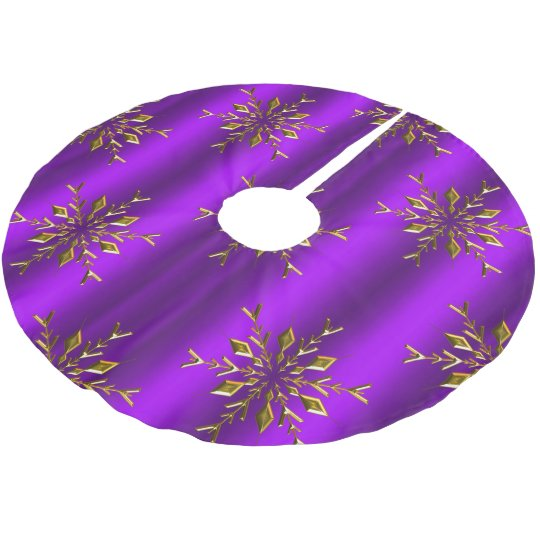 Gold Snowflake Stars On Purple Christmas Brushed Polyester Tree Skirt