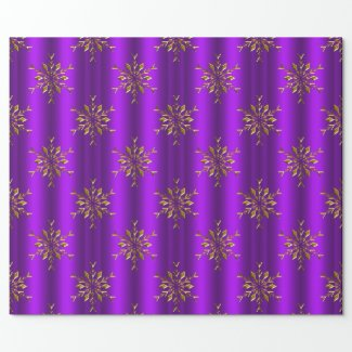 Gold Snowflake Stars on Purple Christmas Wrapping Paper