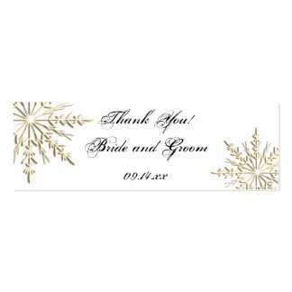 Gold Snowflake Wedding Favor Tags Double-Sided Mini Business Cards (Pack Of 20)