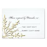 Gold Snowflake Wedding RSVP Response Card Custom Invitations