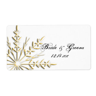 Gold Snowflake Wedding Stickers Personalized Shipping Labels