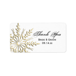 Gold Snowflake Wedding Thank You Label Address Label