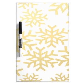 Gold Snowflake Winter Holiday Christmas Pattern Dry-Erase Board